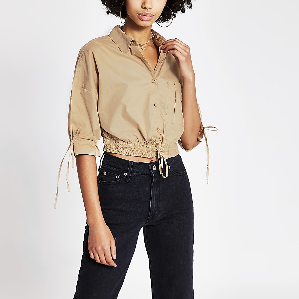 Brown long sleeve cropped drawer string shirt