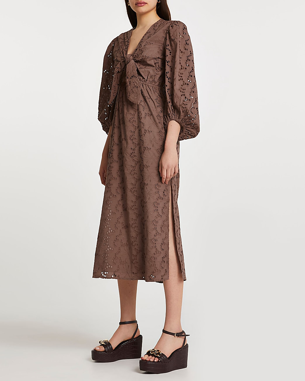 Brown long sleeve cut out broderie midi dress