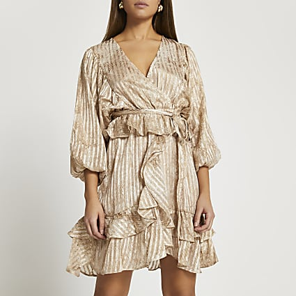 Brown long sleeve frill mini dress