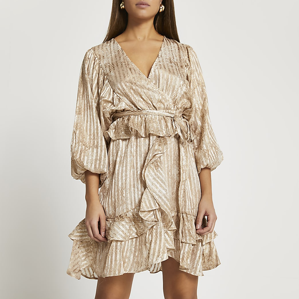 Brown long sleeve frill mini dress