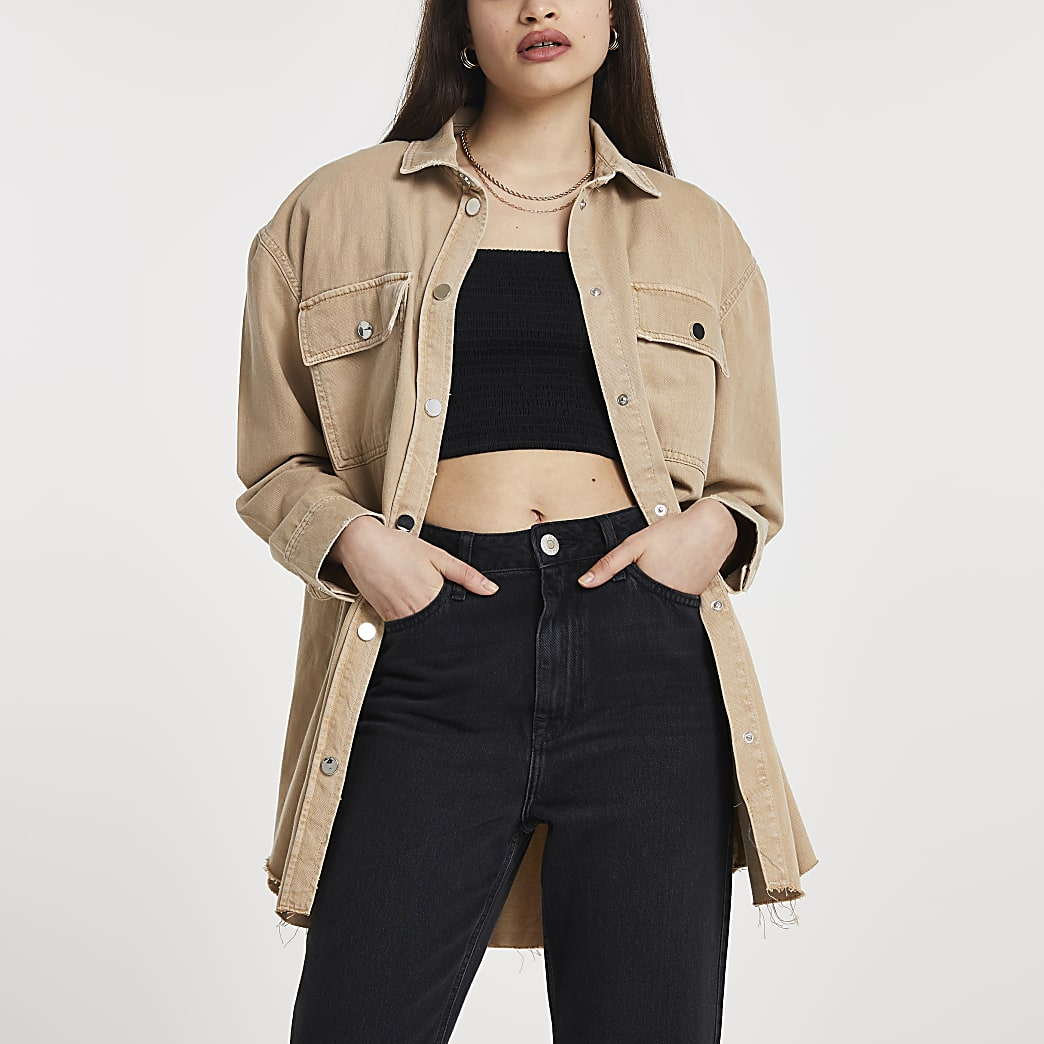 Brown long sleeve oversized utility shirt