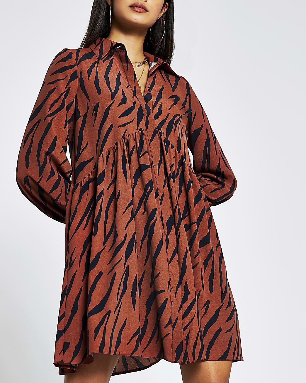 Brown long sleeve printed smock mini dress