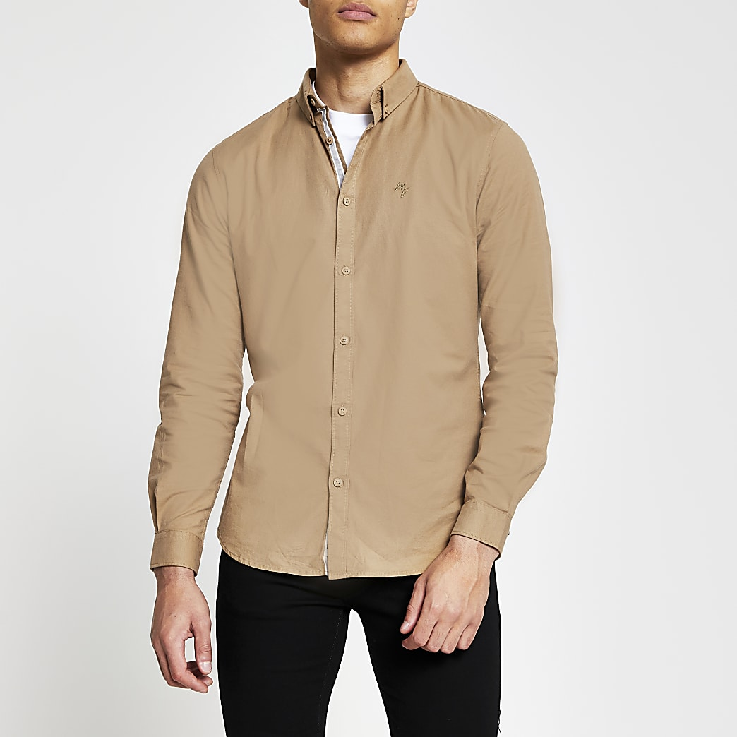 Brown long sleeve slim fit oxford shirt