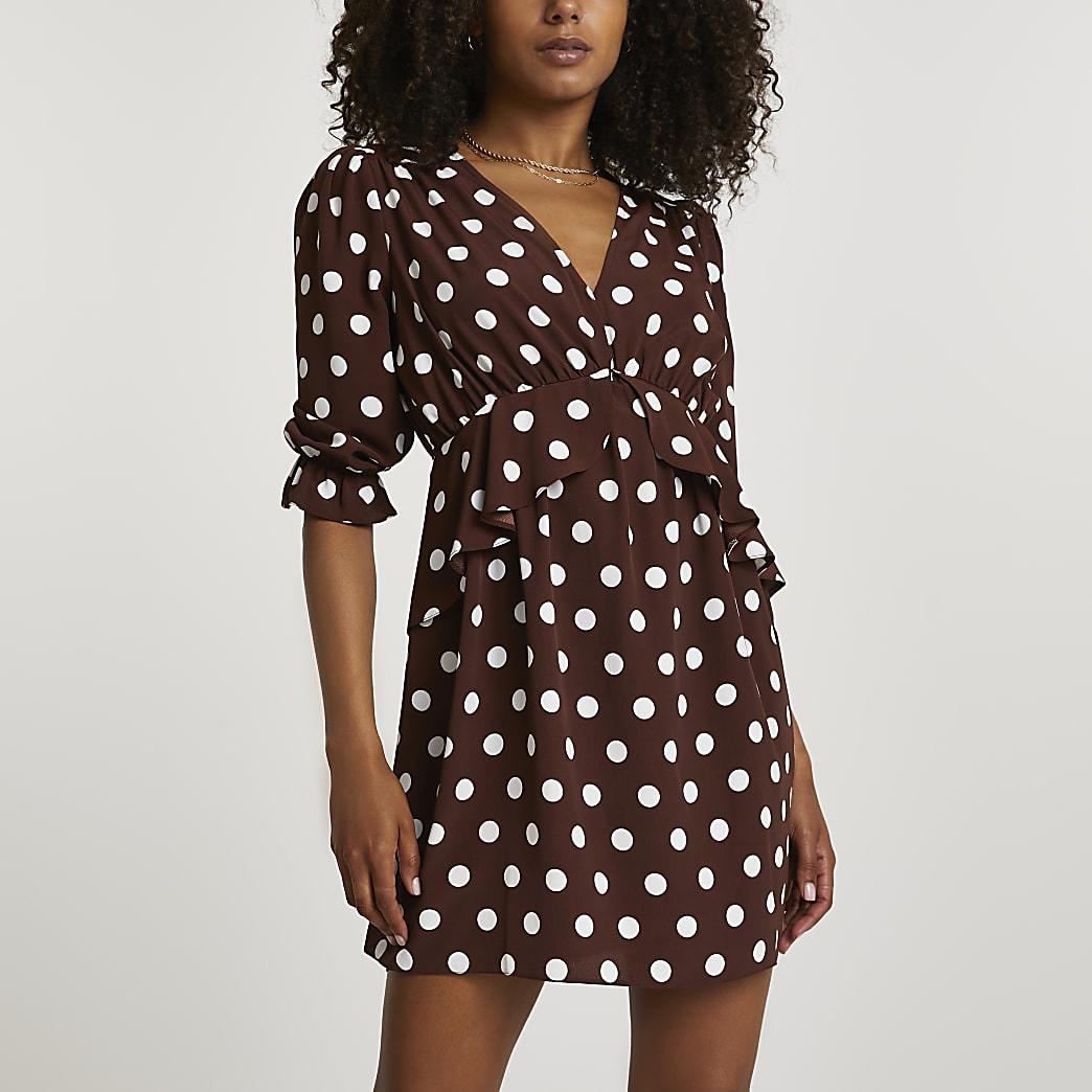 Brown long sleeve spot frill waist mini dress