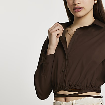 Brown long sleeve tie waist cropped shirt