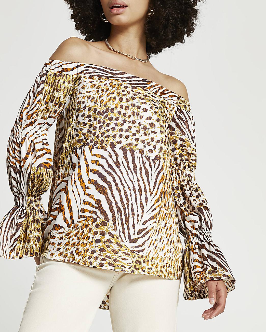 Brown long sleeve tiered sleeve bardot top