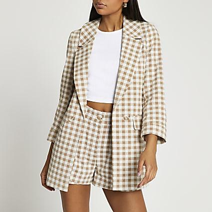 Brown long soft check blazer