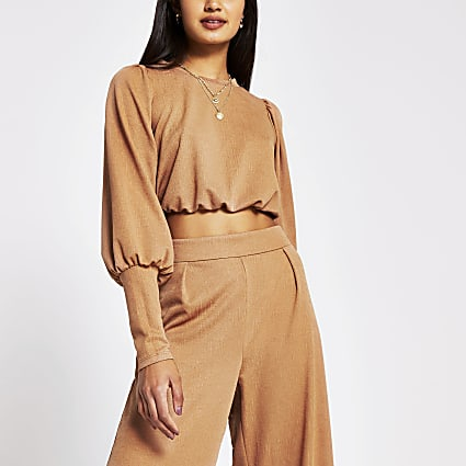 Brown long wide sleeve crop top