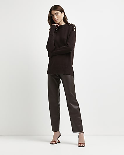 Brown longline knitted jumper