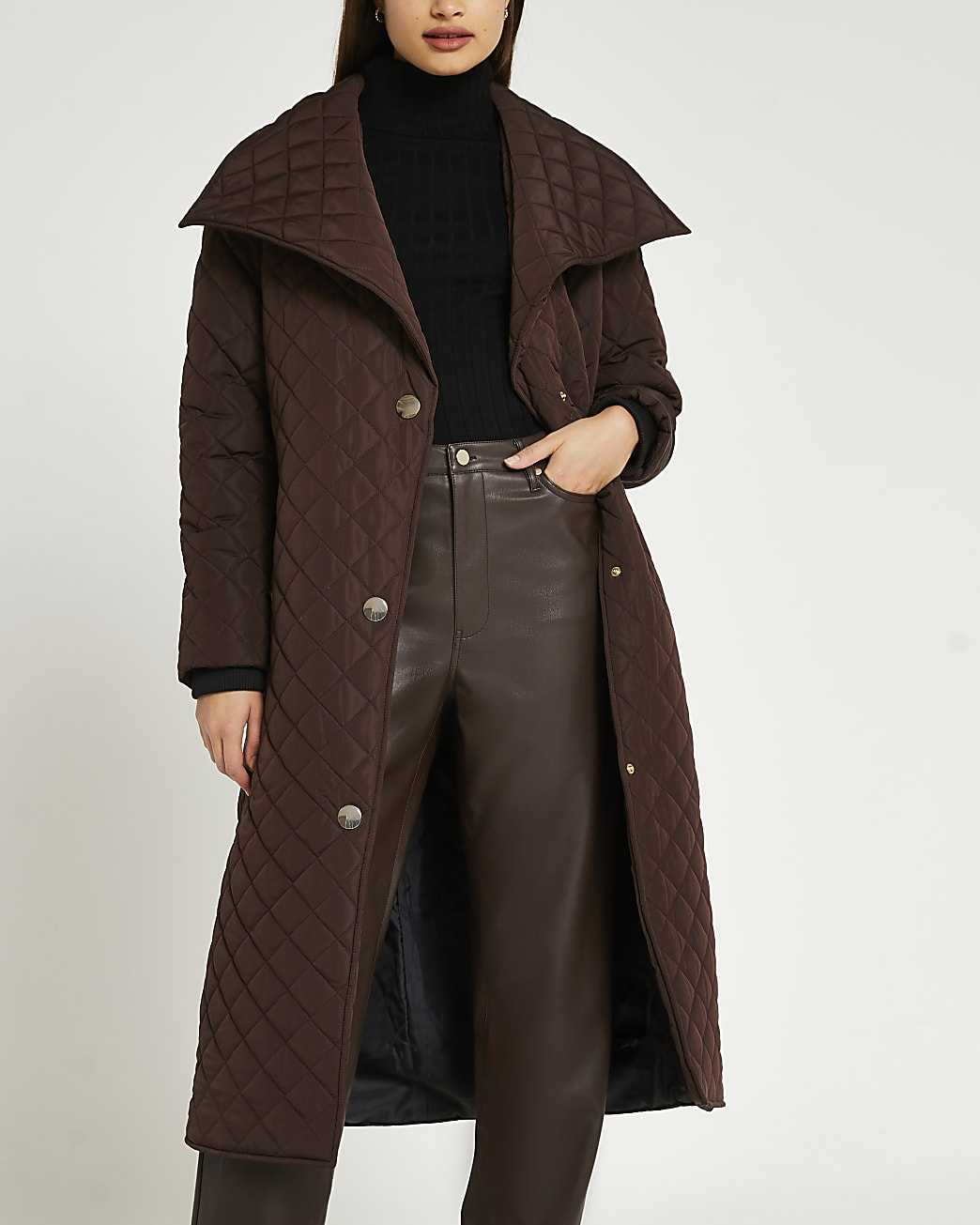 Brown longline quilted coat