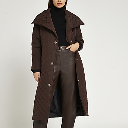 Brown longline quilted padded coat