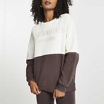Brown Los Angeles colour block sweatshirt