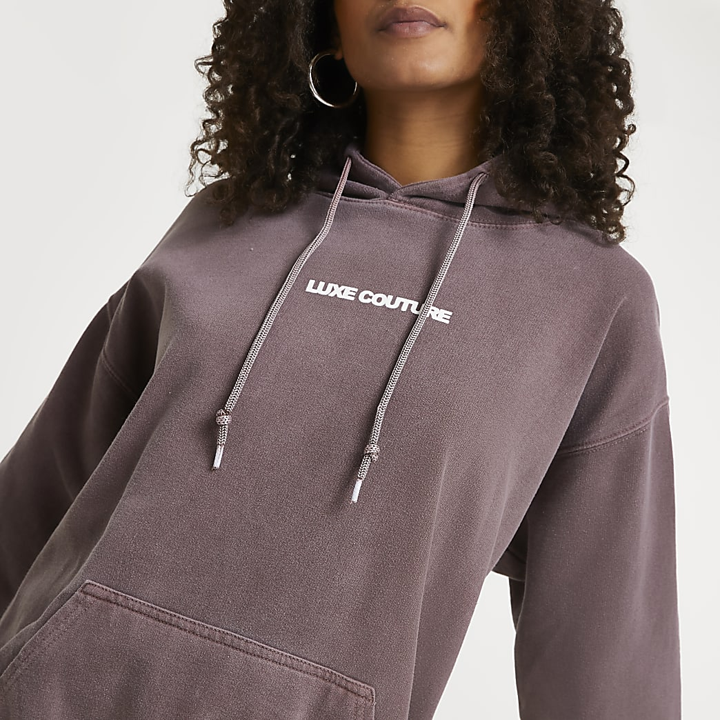 Brown 'Luxe Couture' oversized hoodie