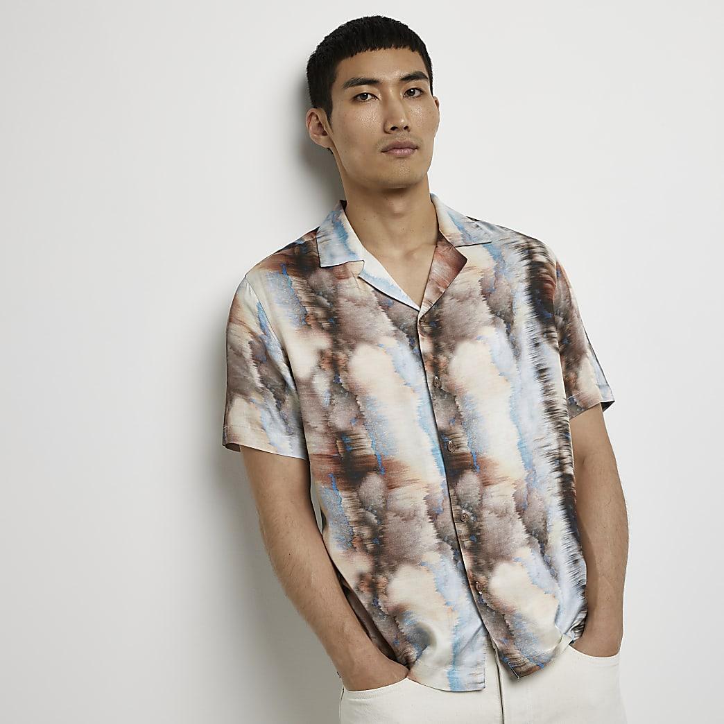 Brown marble print short sleeve revere shirt