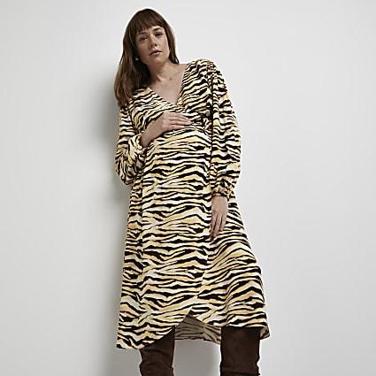 Brown maternity animal print wrap midi dress
