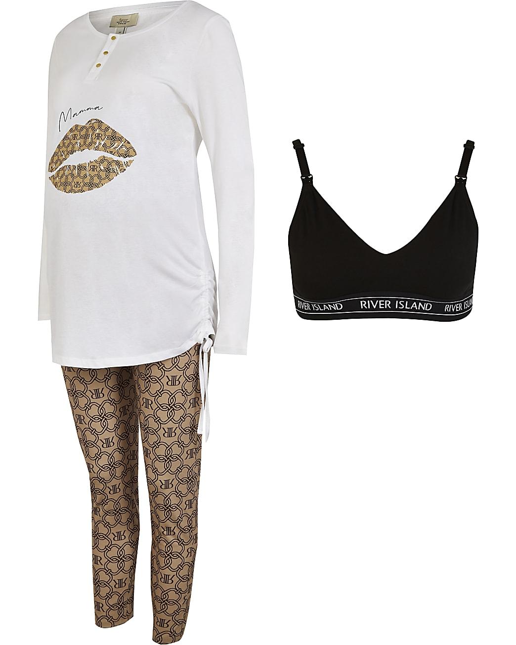 Brown maternity pyjama set