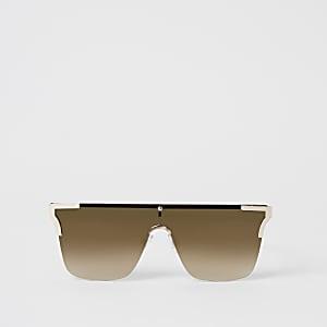 Brown metal corner rimless visor sunglasses