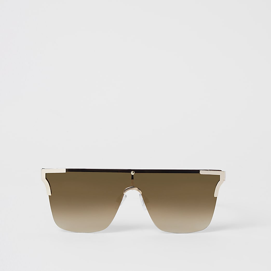Brown metal corner rimless visor sunglasses