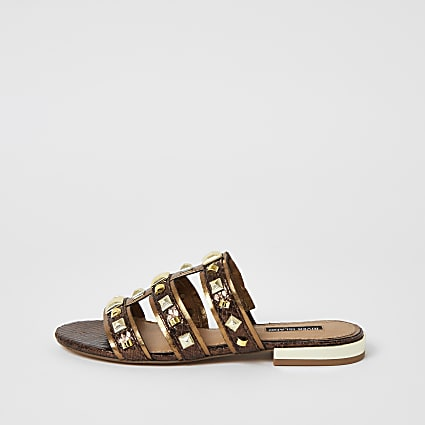 Brown metallic studded caged sandals