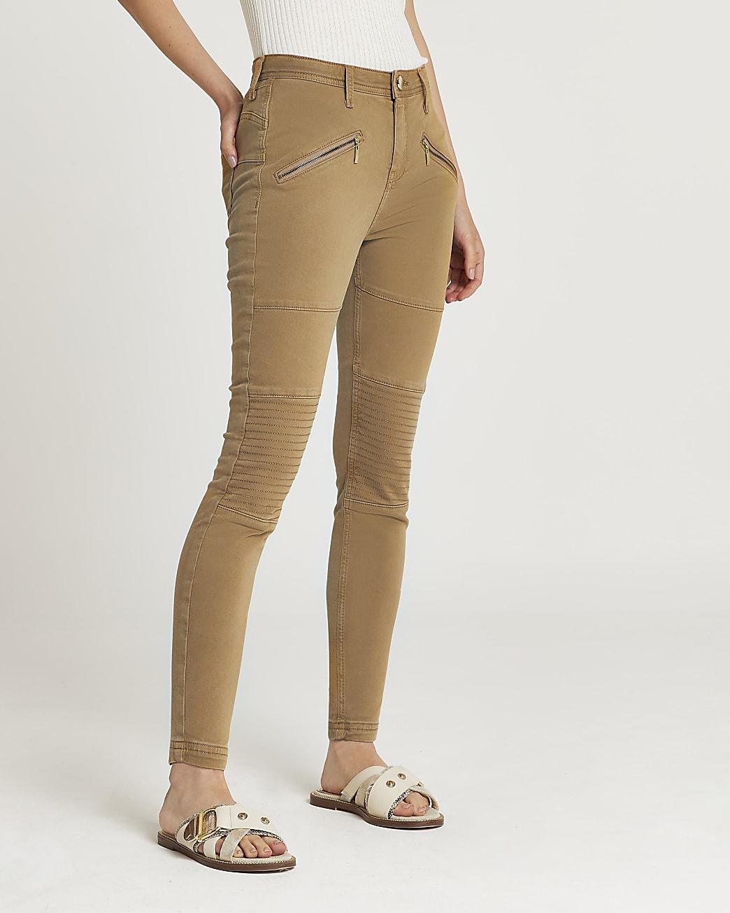 Brown mid rise bum sculpt skinny jeans