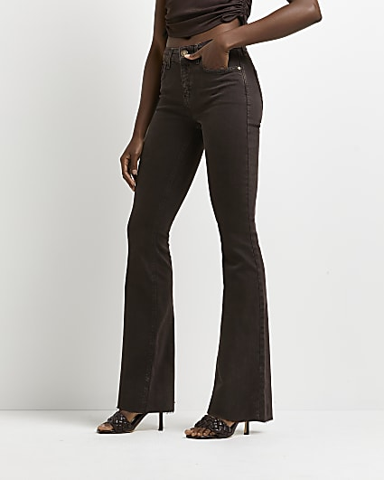 Brown mid rise flared jeans