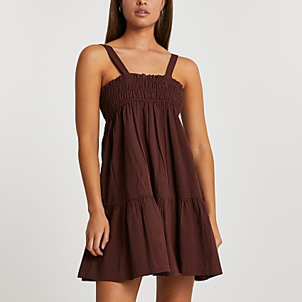 Brown mini shirred cover up parachute dress