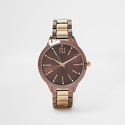 Brown Mocha Mixed Bracelet Watch