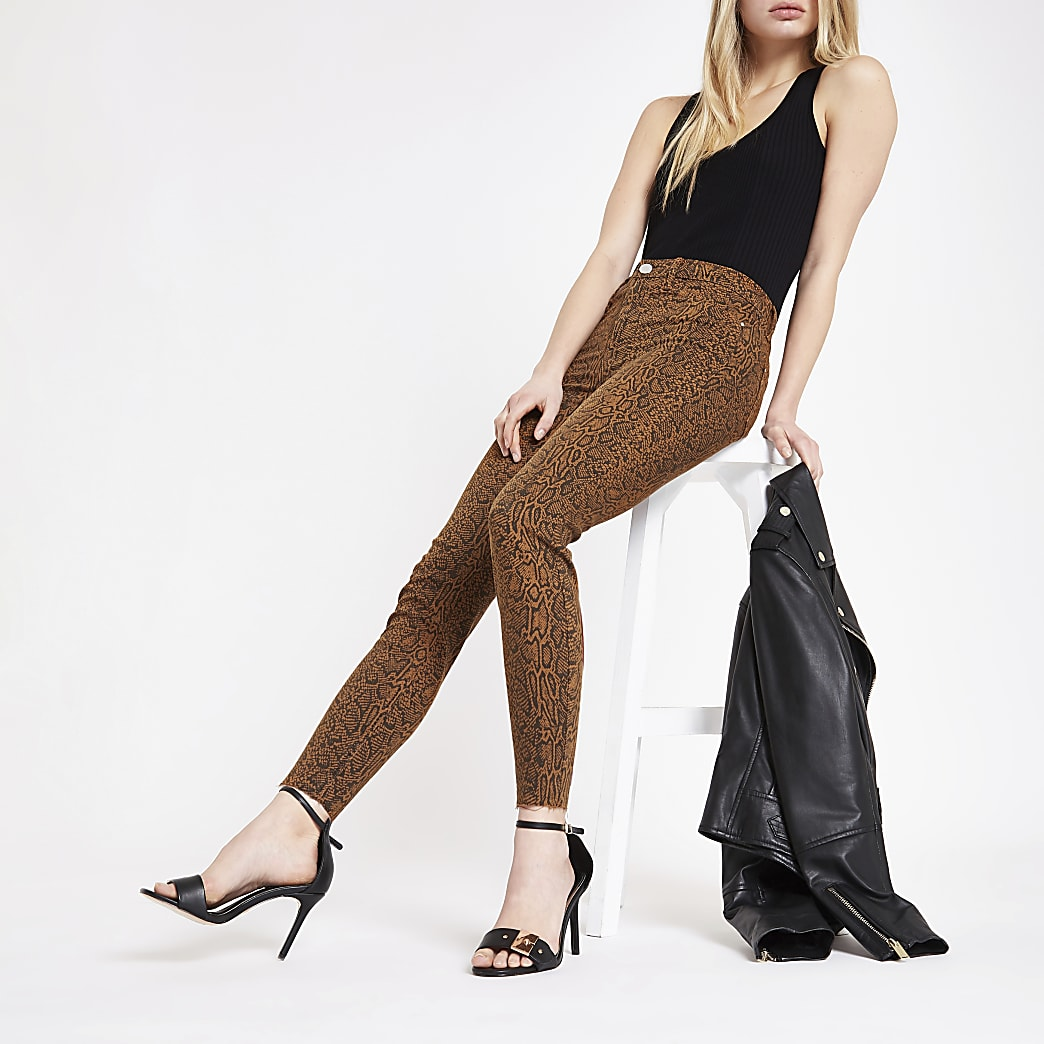 Brown Molly snake print jeggings