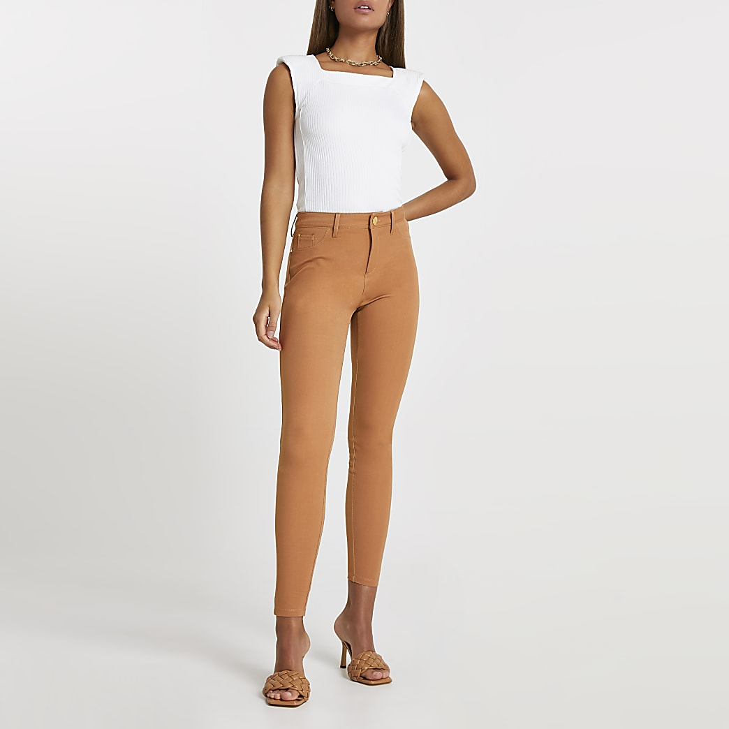 Brown Molly twill skinny trousers