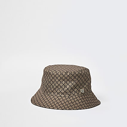 Brown monogram bucket hat