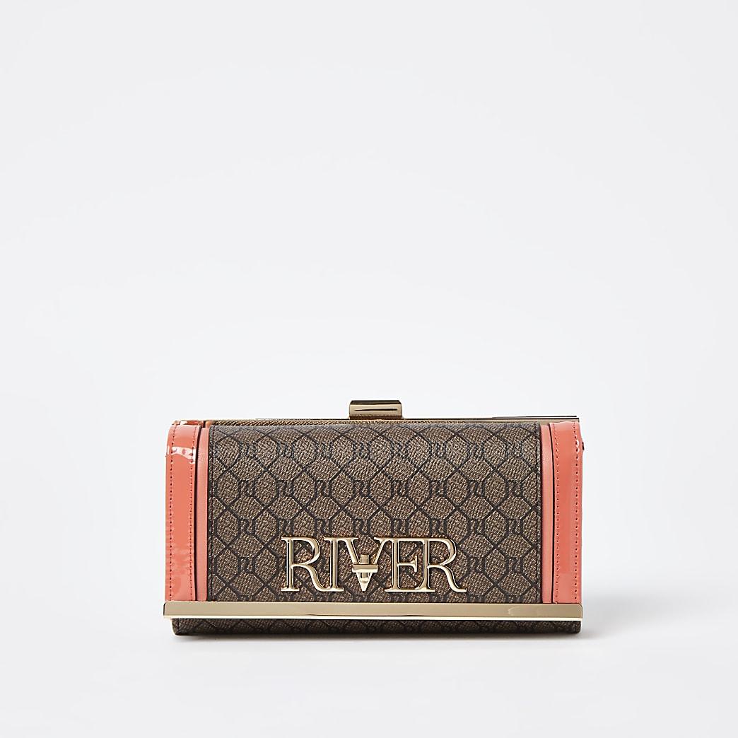 Brown monogram clip top purse