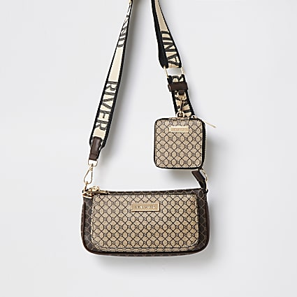 Brown monogram crossbody bag