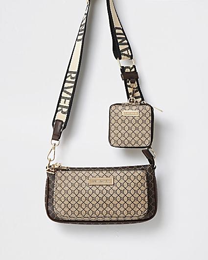 Brown monogram crossbody bag