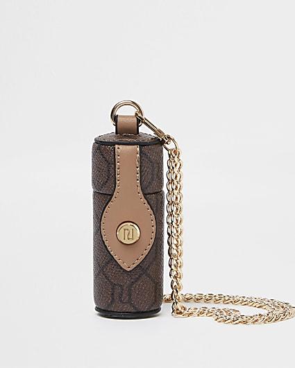 Brown monogram lipstick crossbody pouch