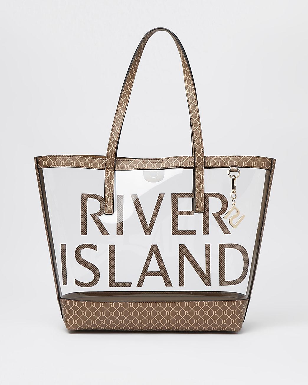 Brown monogram perspex shopper bag