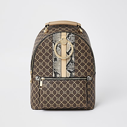 Brown monogram print ring backpack