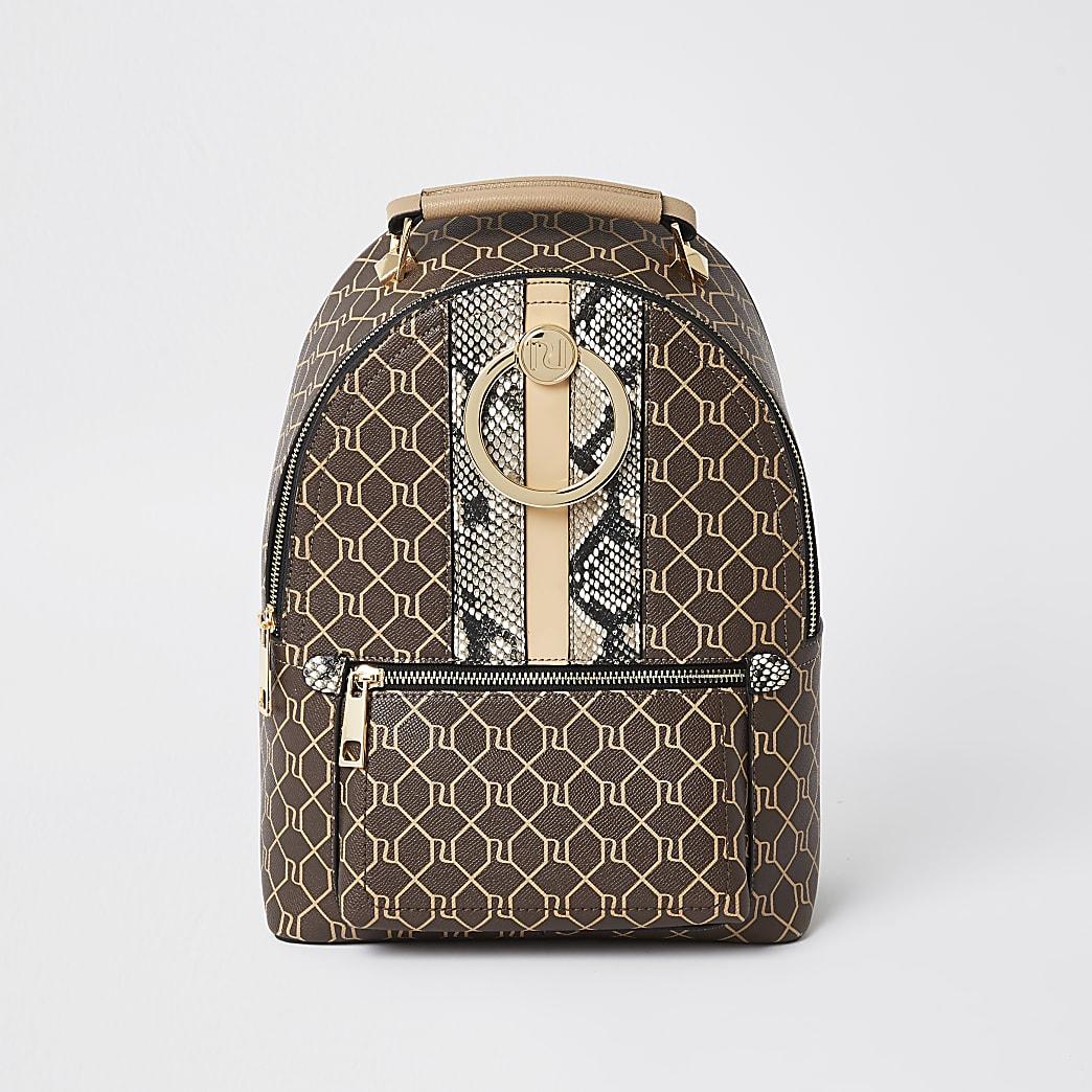Brown monogram print ring backpack