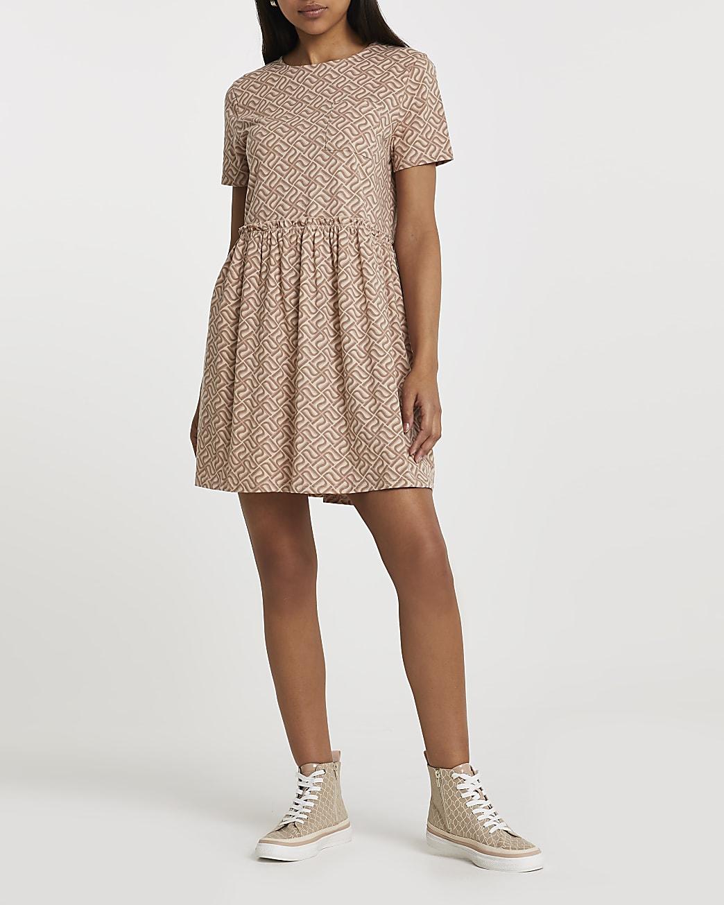 Brown monogram print smock dress
