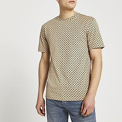 Brown monogram slim fit t-shirt