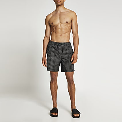 Brown monogram swim shorts