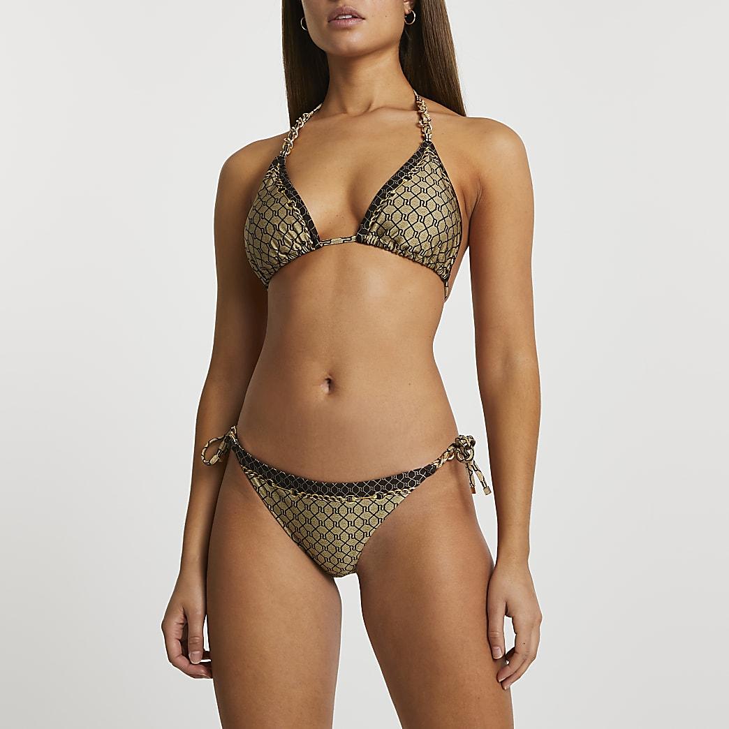 Brown monogram tie side bikini briefs