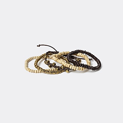 Brown multi-coloured beaded wristband 5 pack