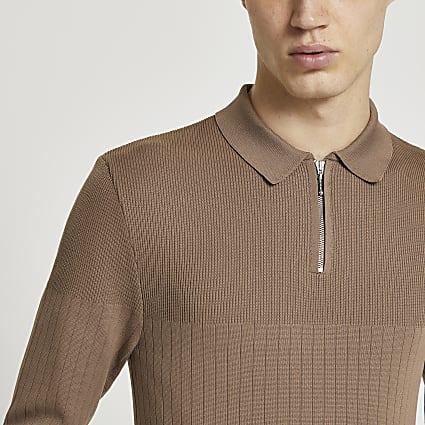 Brown muscle fit long sleeve polo shirt