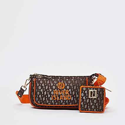 Brown neon double pouch bag