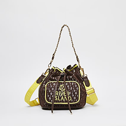 Brown neon jacquard duffle bag