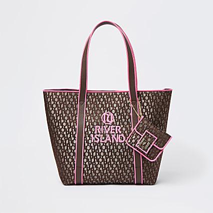 Brown neon jacquard shopper bag