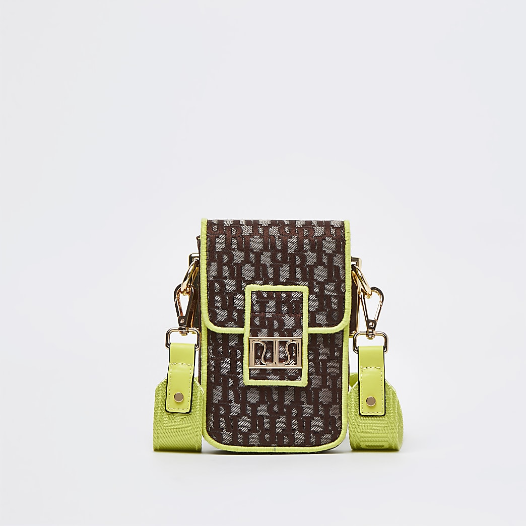 Brown neon jacquard vertical bag