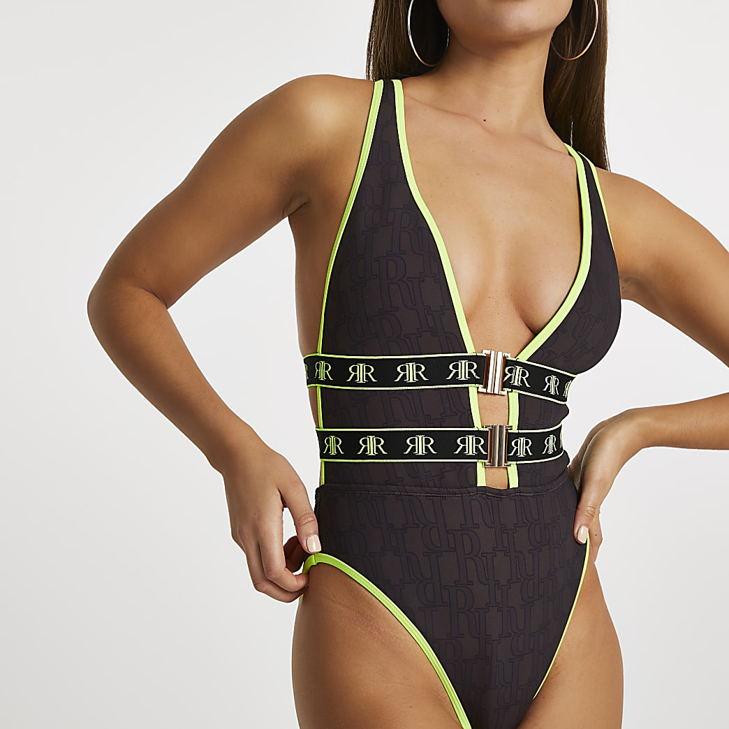 Brown neon plunge neck swimsuit