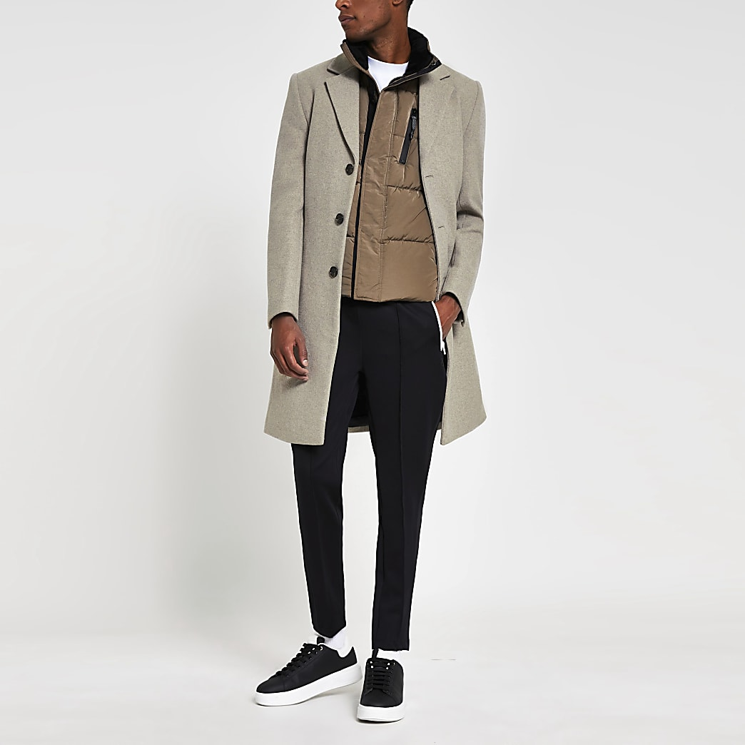 Brown oatmeal melange wool overcoat