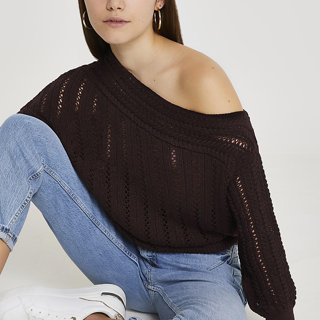Brown off shoulder crochet jumper